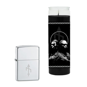 BONES UK - 'Unplugged' Prayer Candle + Zippo Lighter Bundle
