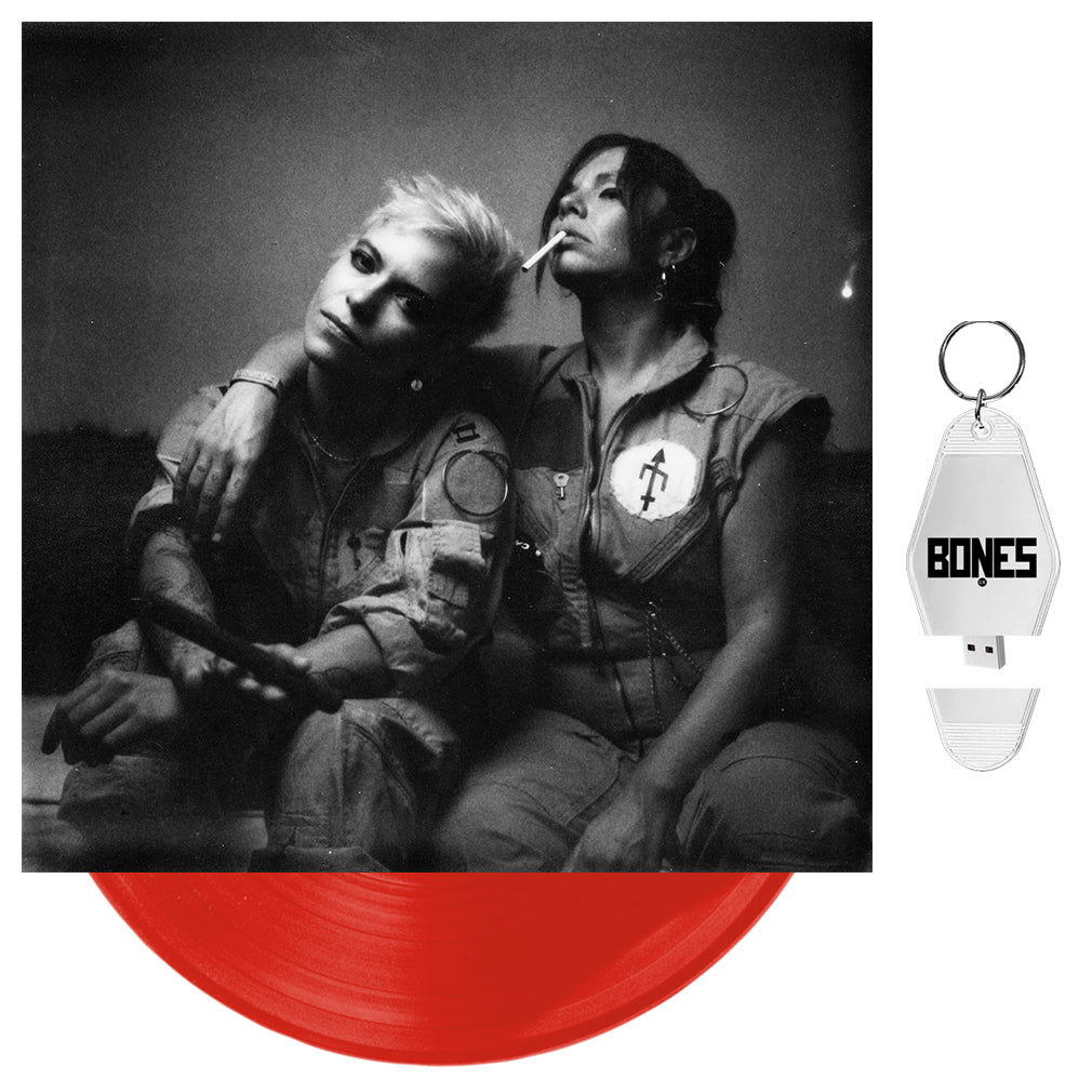 "BONES UK - 'Unplugged' Opaque Red 10"" Vinyl + USB Motel Keychain"