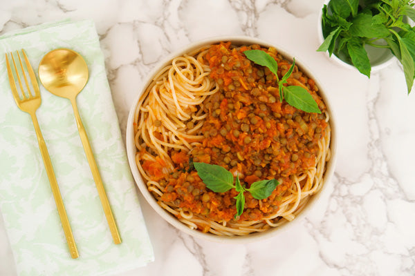 Teelixir Lentil Bolognese simple easy recipe with superfood medicinal Lion's Mane Mushroom dual extract powder for brain perfomance and mood elevating health benefits organic Vegan Gluten Free Paleo Keto healthy at home recipes for the whole family