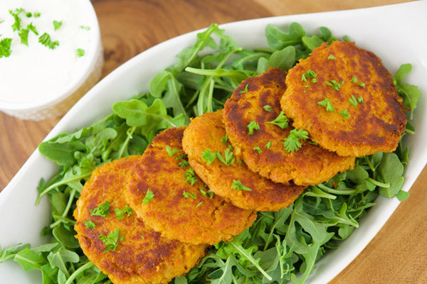 Teelixir Sweet potato and chickpeas Fritters recipe with certified organic Mushroom Immunity Superfood medicinal Mushroom Blend with Reishi Chaga Cordyceps Lion's Mane Turkey Tail Maitake Shiitake Agaricus Blazei delicious Vegetarian, Gluten Free recipes