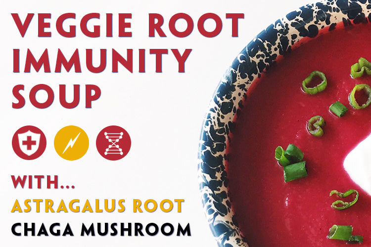 Teelixir Recipes. Vegetable Root Immunity Soup with Astragalus and Chaga Mushroom extract powders.