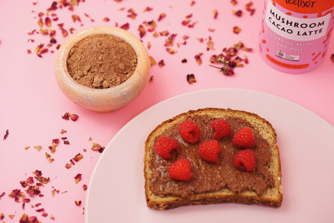 Reishi medicinal Mushroom dual double extract powder and Rose Almond Nutella Spread delicious vegan dessert recipe paleo gluten free zero sugar adaptogen superfoods great for kids