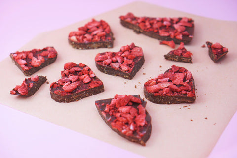 Reishi medicinal Mushroom dual double extract powder and Rose Strawberry Covered Chocolate raw cacao Bark delicious Vegan dessert recipe Paleo Gluten Free zero sugar adaptogen superfood great for kids to eat
