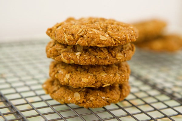 Teelixir easy and delicious simple recipes Classic Coconut Anzac Biscuits with Medicinal Mushroom extract powder wild chaga reishi cordyceps lion's mane shiitake turkey tail maitake agaricus for immune system support health wellbeing vegan gluten free