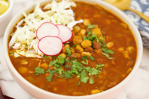 Teelixir easy and delicious simple recipes Mexican Pozole Rojo with Cordyceps Mushroom dual double extract powder Vegan Gluten Free vegetarian Dairy free paleo for energy increase