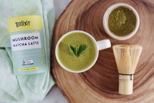 Teelixir Mushroom Ceremonial Japanese Matcha Latte Blend Starring Lion's Mane hericium erinaceus superfood medicinal mushroom extract powder and Peppermint - 100% Certified Organic Vegan, Paleo, Gluten Free, Zero Sugar, Caffeine Free Coffee Alternative that is dairy free