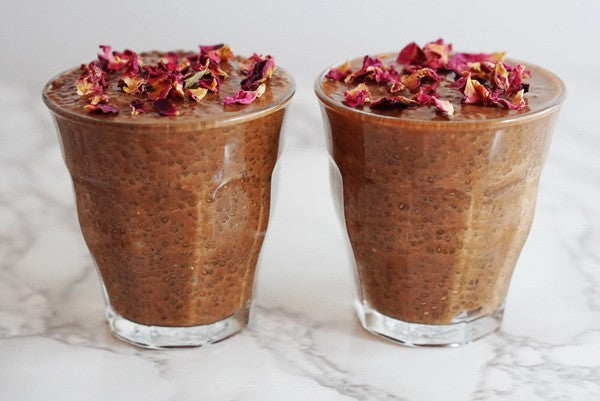 Teelixir Certified Organic Mushroom Cacao Latte Chia Seed Pudding Recipe with Superfood Medicinal Reishi Mushroom, Rose and fair trade raw chocolate