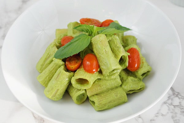 Simple Easy Vegan Pesto Pasta recipe with Tremella superfood medicinal Mushroom extract powder Dairy free Gluten Free Grain free Paleo