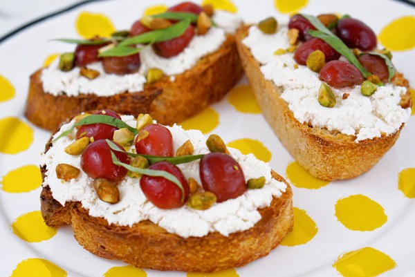 Pearl Powder beauty tonic Infused Cherry on Basil Almond-Ricotta Toast recipe 100% Gluten Free, Paleo