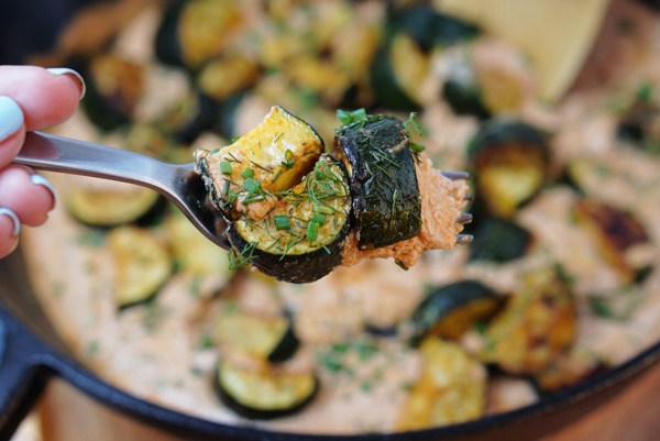 Creamy Roasted Zucchini Sauce recipe with Reishi superfood medicinal Mushroom dual extract powder Vegan Gluten Free Paleo easy simple keto recipe