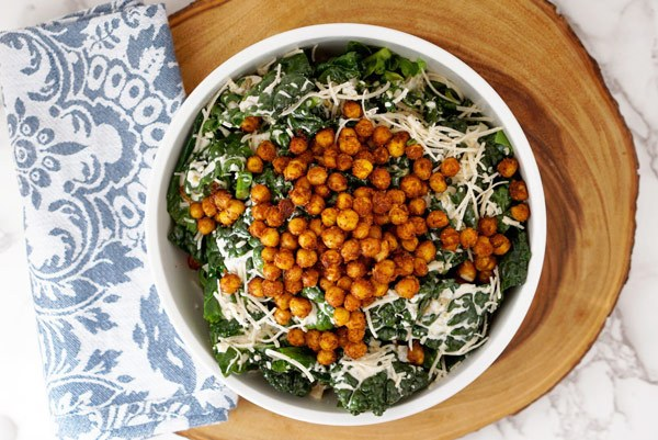 Mexican Kale Caesar Salad with Spiced Chickpeas and Tremella superfood medicinal Mushroom extract powder Vegan Gluten Free recipe easy simple delicious