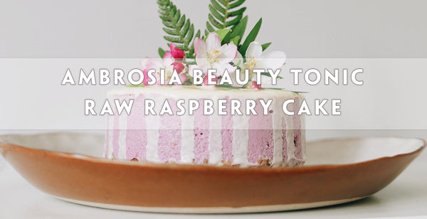 Ambrosia Beauty Tonic Raw Raspberry Cake, Vegan Paleo with Reishi Mushroom, Tremella, Goij, Schizandra berry, Pearl, and Rose