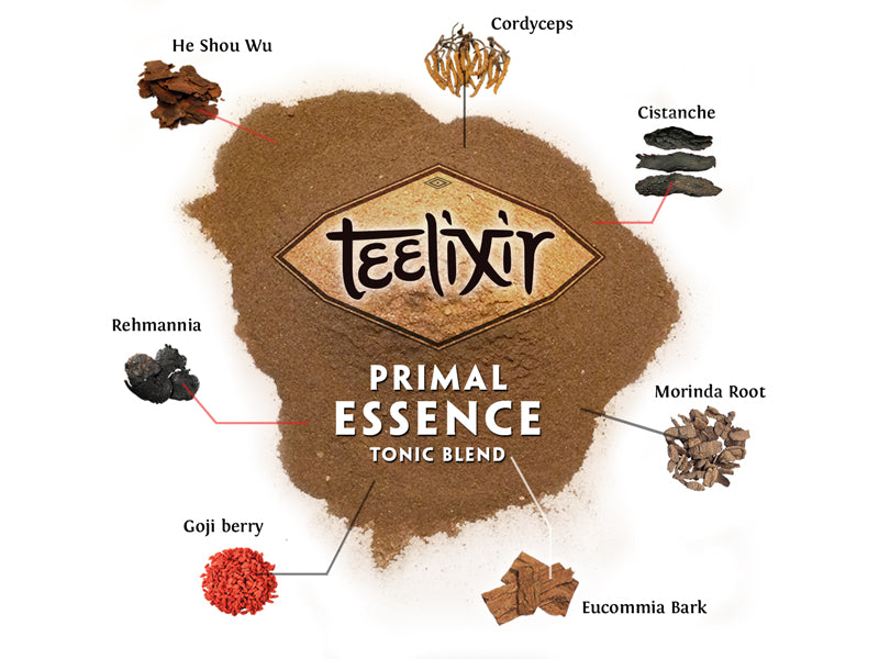 Teelixir Primal Tonic Herb Blend What's In it He Shou Wu Rehmannia Goji berry Cordyceps Mushroom Morinda root Cistanche Eucommia Bark