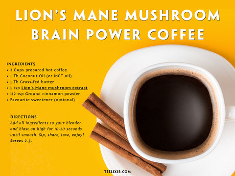 Teelixir Lion's Mane Mushroom Brain Coffee Recipe Card