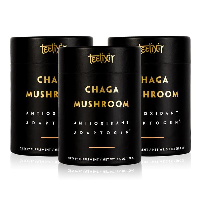 Teelixir Australian Certified Organic Wild Siberian Chaga Mushroom 10:1 Dual-Extract Powder Boost Antioxidants Increase Energy Natural Gut Health Relief wildcrafted vegan gluten free paleo non GMO - Triple Pack 100g - 10% off discount no coupon code needed
