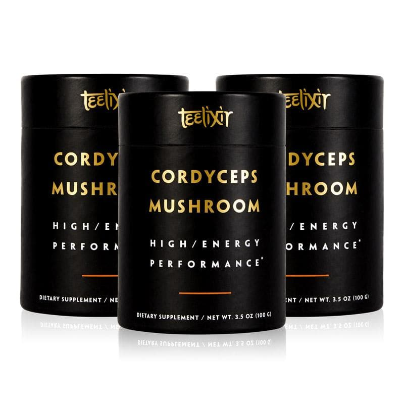 Teelixir Australian Certified Organic Cordyceps Sinensis Mushroom 10:1 Dual Extract Powder - Improve Mental and Athletic Physical Performance Increase libido sex drive Energy and Jing tonic herb adaptogen 100 g 3.5 oz 3 Triple pack