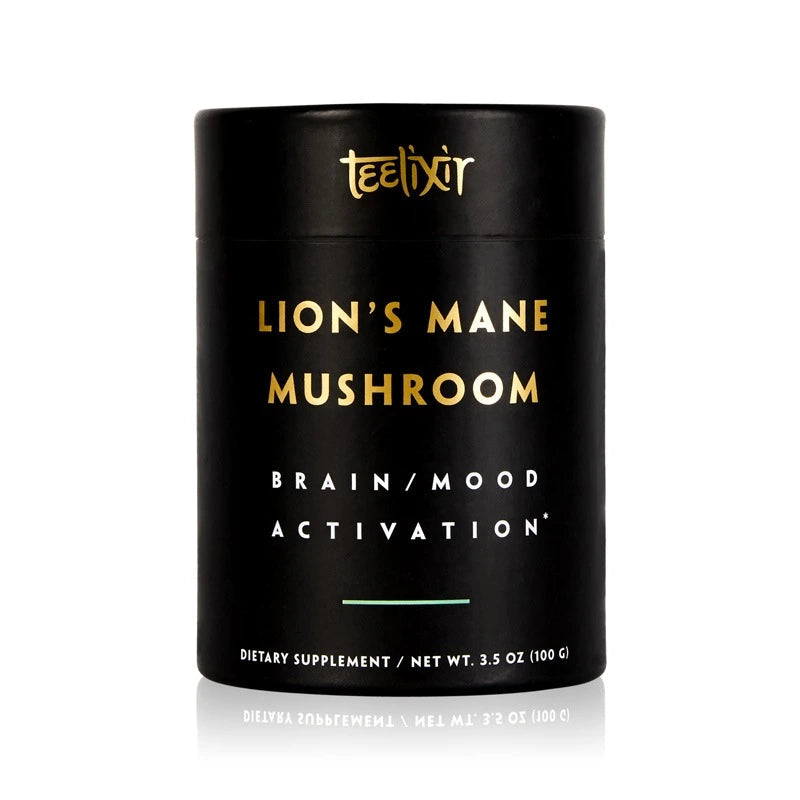 Teelixir Australian Certified Organic Lion's Mane Mushroom hericium erinaceus 10:1 Dual Extract Powder - Boost Brain Power Elevate Mood Calm the Mind improve memory focus support immunity gut health benefits 100 g 3.5 oz