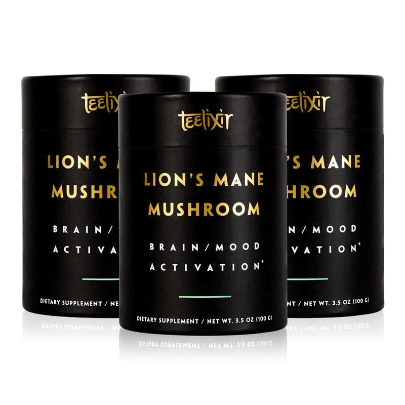 Teelixir Australian Certified Organic Lion's Mane Mushroom hericium erinaceus 10:1 Dual Extract Powder - Boost Brain Power Elevate Mood Calm the Mind improve memory focus support immunity gut health benefits 100 g 3.5 oz 3 triple pack