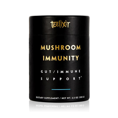 Teelixir Mushroom Immunity Immune Defence Superfood Medicinal Mushroom Dual Extract 10:1 Powder Blend Potent Best science tested - Reishi wild Siberian Chaga Cordyceps militaris Lion's Mane Turkey Tail Maitake Shiitake Agaricus blazei fruiting body increase boost immune system gut digestion health prebiotics formula 100 g size 3.5 oz