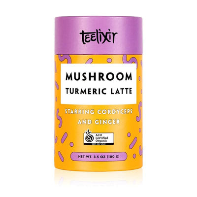 Teelixir Turmeric Golden Milk Latte Mix Blend Starring Cordyceps miltaris superfood medicinal mushroom dual extract powder and Ginger - 100% Certified Organic ingredients Vegan, Paleo, Gluten Free, Zero Sugar, Caffeine Free Coffee Alternative Dairy for energy fitness boost performance
