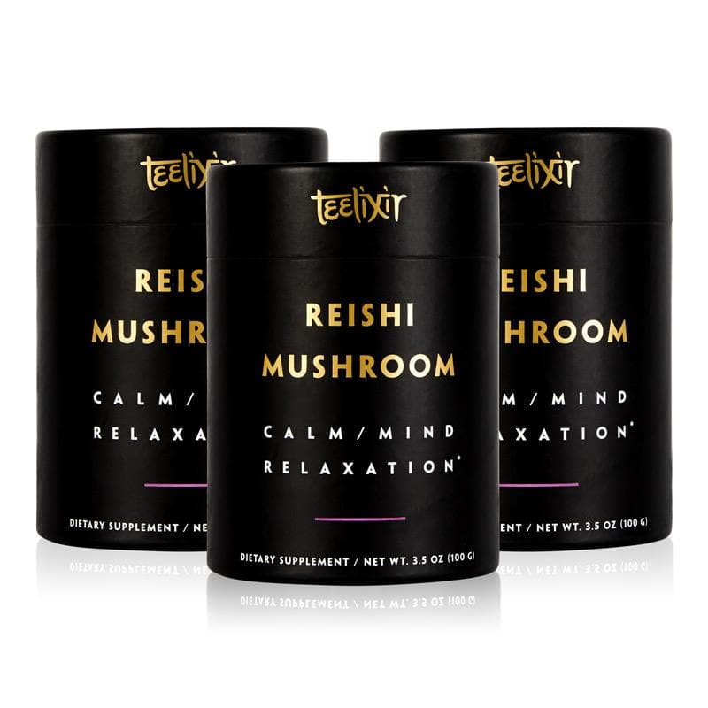 Teelixir Australian Certified Organic Best Wild cultivated Red Reishi superfood medicinal Mushroom Ganoderma lucidum 10:1 Dual Extract Powder Be Calm & Reduce Stress sleep better relax calm the mind with high beta-glucans polysaccharides vegan gluten free grain paleo 100 g 3.5 oz triple 3 pack 10% off discount