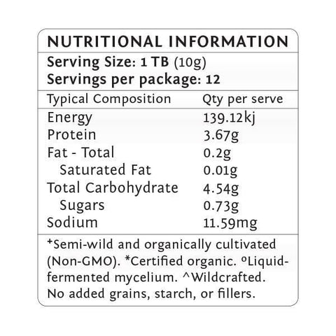 Primal Essence Tonic Herb Blend - Nutritional Information Teelixir