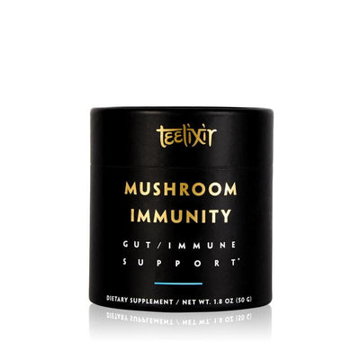 Teelixir Mushroom Immunity Immune Defence Superfood Medicinal Mushroom Dual Extract 10:1 Powder Blend Potent Best science tested - Reishi wild Siberian Chaga Cordyceps militaris Lion's Mane Turkey Tail Maitake Shiitake Agaricus blazei fruiting body increase boost immune system gut digestion health prebiotics formula 50 g size 1.8 oz