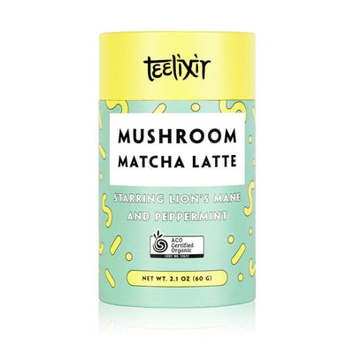 Teelixir Mushroom Ceremonial grade Matcha latte green tea powder from Kagoshima Japan Blend Starring Lion's Mane hericium erinaceus superfood medicinal mushroom adaptogen dual extract powder and Peppermint - 100% Certified Organic ingredients Vegan Paleo Gluten Free Zero Sugar Caffeine Free Coffee Alternative that is dairy free brain and mood health mental performance wellbeing