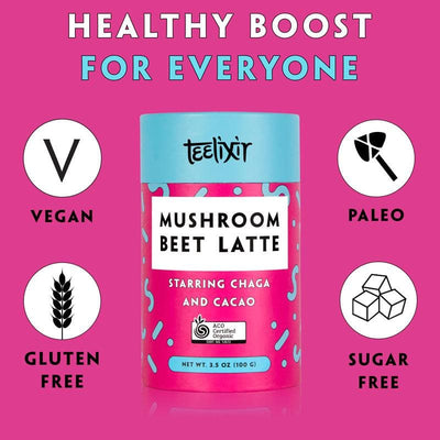 Teelixir Mushroom Beet Latte Starring wild Siberian Chaga superfood medicinal mushroom extract powder, Beetroot and Raw Cacao chocolate - 100% Certified Organic Vegan, Paleo, Gluten Free, Zero Sugar, Caffeine Free Coffee Alternative that is Dairy free energy antioxidants gut health - Healthy boost, suitable for everyone family all ages