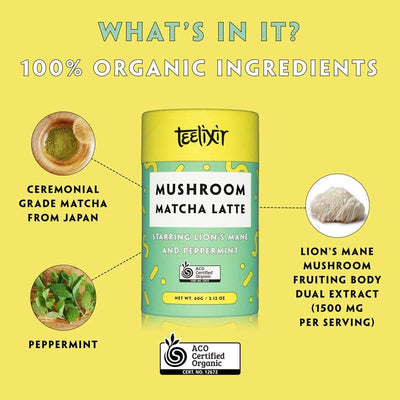 Teelixir Mushroom Ceremonial grade Matcha latte green tea powder from Kagoshima Japan Blend Starring Lion's Mane hericium erinaceus superfood medicinal mushroom adaptogen dual extract powder and Peppermint - 100% Certified Organic ingredients Vegan Paleo Gluten Free Zero Sugar Caffeine Free Coffee Alternative that is dairy free brain and mood health mental performance wellbeing - What's in it? Ingredients Ceremonial Matcha from Japan, Lion's Mane, peppermint