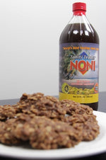 Chocolate Peanut Butter No-Bake Noni Cookies