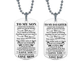 'To My Son' or 'To My Daughter' Dog Tag Necklace