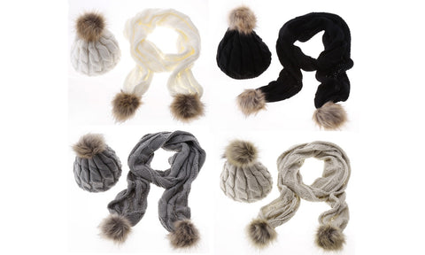 Pom Pom Scarf and Winter Hat Set