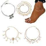 Layered Anklets with Charms