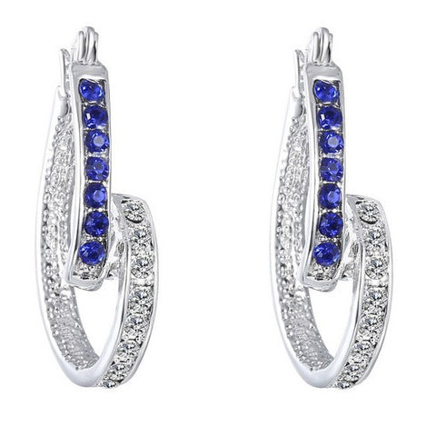 Inside Out Twist Crystal Hoop Earrings