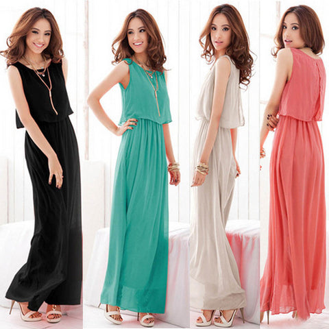 Vincenza Bohemian Chiffon Maxi Dress
