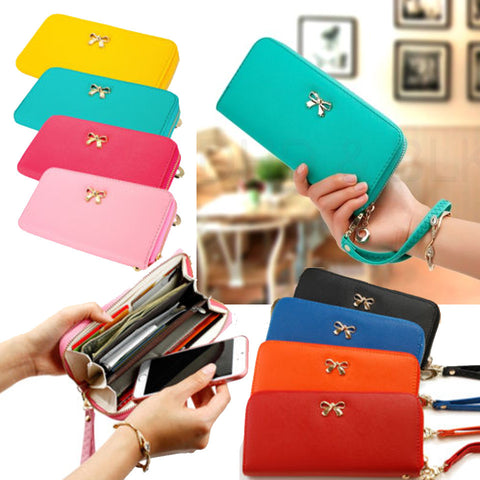 Bow Leather Clutch Wallet