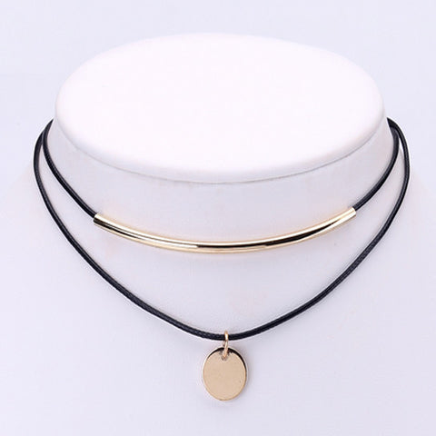 Gold Plated Coin Pendant Black Choker with Necklace
