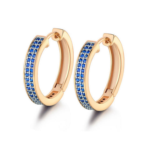 Blue Cubic Zirconia Statement Earrings
