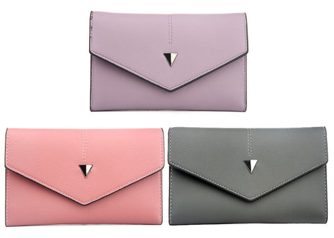 Geometric Leather Envelope Wallet
