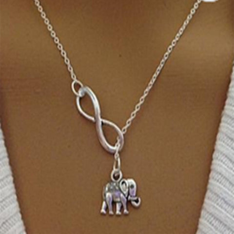 Elephant Infinity Lariat Necklace