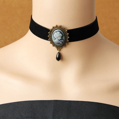 Vintage Gothic Black Choker Necklace