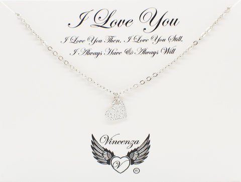 Silver I Love You Inspirational Necklace