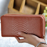 Croc Patterned Double Zip Leather Wallet