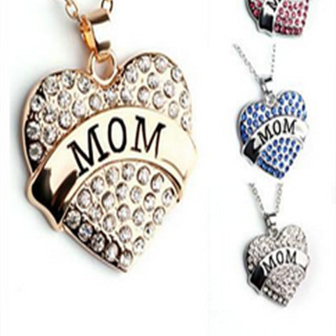 Mom Heart Shape Pendant Necklace