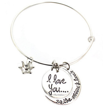 Moon and Back Charm Bangle
