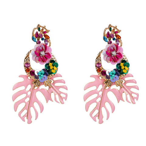 Leaf Statement Stud Earrings - Pink