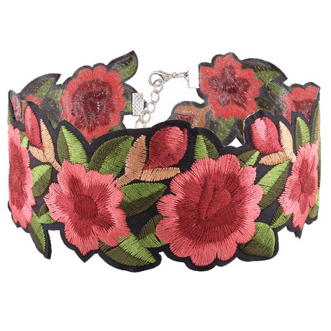 Embroided Rose Choker