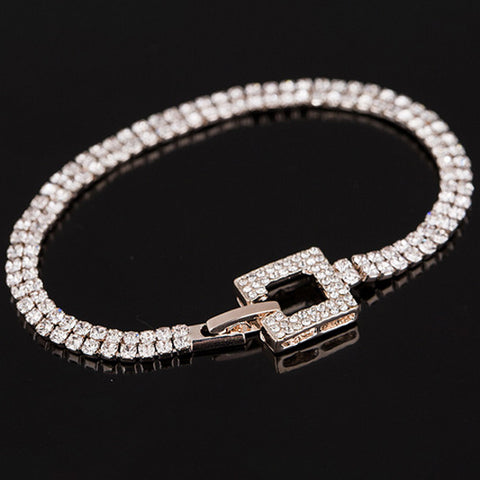 Rose Gold Crystal Pave Link Bangle Bracelet