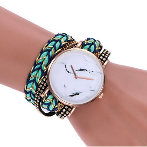 Statement Face & Chord Wrap Watch - Aqua